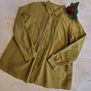 J Jill Olive Pintuck Button Down Long Sleeve Shirt